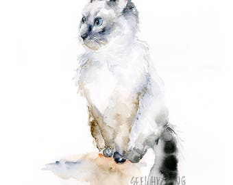 Ragdoll Cat Watercolor and Ink Art Print / Pet Watercolor Art / Modern Cat Artwork / Ragdoll Cat Lover Gift / Pet Watercolor Portrait