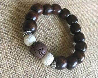 Essential oil diffuser bracelet // Aromatherapy // Lava stone // Dark wooden beads