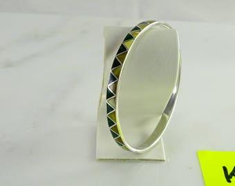 Enameled Sterling Bangle Bracelet