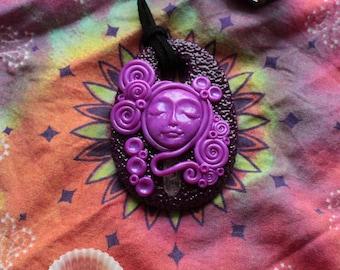 Purple Goddess Polymer Clay Pendant