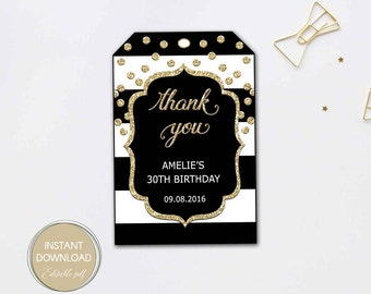 THANK YOU TAGS printable, editable tags, black stripe gold favor tags, Gift Tag, birthday, bridal shower Editable Pdf Instant Download #B12