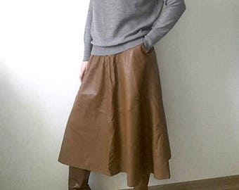Real leather high waist midi skirt