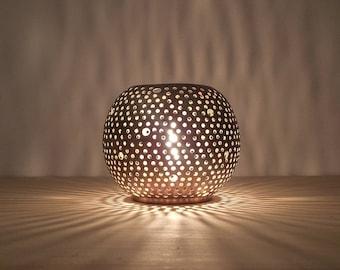 6 Handmade Moroccan table lantern, candle holder, golden copper