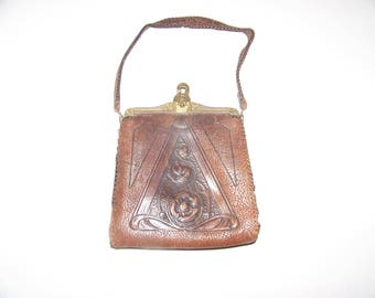 Vintage Meeker Made Leather 1920's Handbag, Vintage Handbag, Vintage Purse, Collector Purse