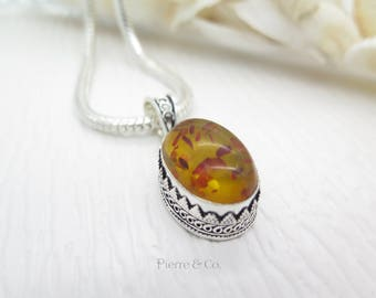 Antique Baltic Amber Sterling Silver Pendant and Chain