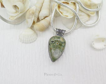 Vintage Rain forest Jasper Sterling Silver Pendant and Chain