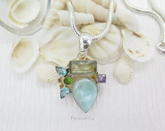 Green Amethyst Larimar Blue Topaz Peridot Sterling Silver Pendant and Chain