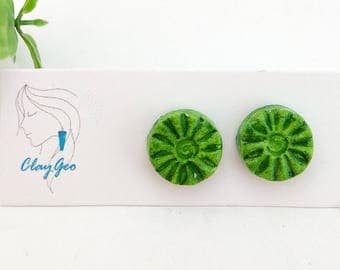 Forest green flower studs Round studs Surgical steel posts Hand stamped Hand painted Air dry clay Eco friendly lightweight earrings