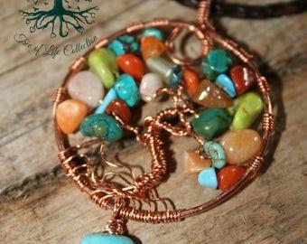 Tree of Life, AUTUMN SPICE pendant, Tree of Life Jewelry, Wire Tree Pendant