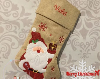 Personalised Christmas Stocking, Deluxe Hessian Santa Any Name, Personalized Christmas Gift