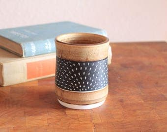 Carved porcelain Sunrise cup in Sienna. Coffee cup, tea cup, tumbler, whiskey glass, mug, pint.