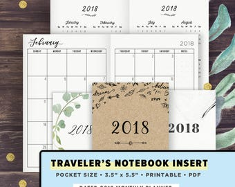 POCKET Size TN | 2018 Monthly Spread: Month on 2 Pages Planner with 2017 Oct-Dec | Printable Travelers Notebook Insert | 2018 Calendar