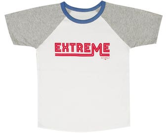 Extreme T-shirt for boys and girls, organic cotton raglan, printed in London UK, buzz words, bright colours, retro graphics for cool kids