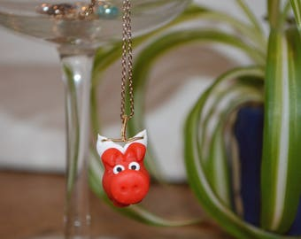 Flying Dierklei Pig Necklace