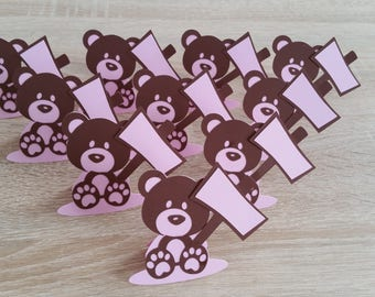 Set of 10 place - cards bear pink and Brown to personalize - Pastel collection