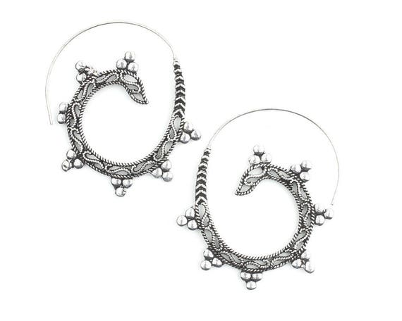 Silver Temple Earrings, Spiral Earrings, Boho, Bohemian, Mandala, Tribal Earrings, Festival Jewelry, Gypsy Earrings, Ethnic, Hippie