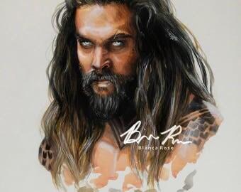 Portrait of Jason Momoa as Aquaman (Justice League)