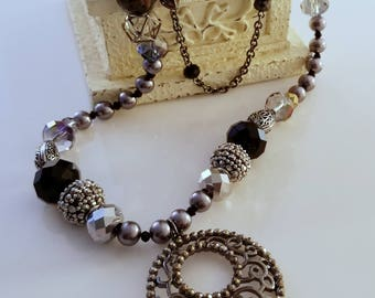 """Studio Made Double Strand LONG Black Hematite """"Offerings Collection"""" Mindful Artists Beaded Necklace"""