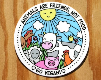 Go Vegan Sticker -- Animals Are Friends Not Food -- Vegan Vinyl Decal -- Vegan Bumper Sticker -- Vegetarian Sticker -- Vegan Gift