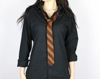 90's Brown Striped Silk Necktie