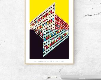 Le Corbusier's Unité d'habitation Illustrated, Matte & Giclee Art Prints in A3 or A2 sizes.  Home Decor, Brutalist Architecture Prints