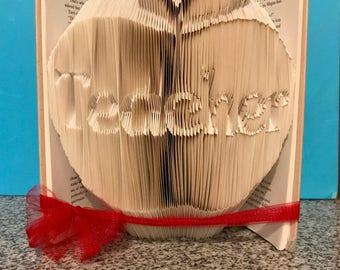 Teacher in apple folded book - Teacher appreciation week - English - First day of school - Last day of school - Christmas - Birthday -
