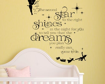 Peter Pan Wall Decal - Tinkerbell Wall Decal - Neverland Wall Decal