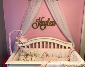 Crown Crib Canopy Bed Gold Princess Wall Decor