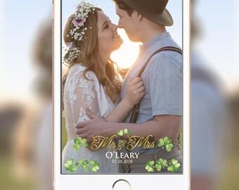 Custom Irish Wedding Snapchat Geofilter, Irish Wedding Geofilter, Shamrock Geofilter,  Celtic Irish American Wedding Snapchat Geofilter