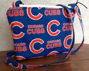 Small Quilted Crossbody Cubs bag, Chicago Cubs gift, Christmas gift woman, Christmas gift girl, Gift teen, Sports fan, Travel, Birthday gift