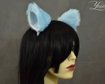 Light Blue Cat Ears | Huge Clip on Cat Ears | Cat Ears | Clip on Ears | Fluffy ears | Kitty Ears | Anime Ears | Fur Ears | Fluffy Ears