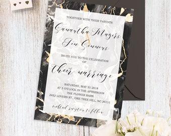 Modern Wedding Invitation Elegant Wedding Invitations Rose Gold & Grey Wedding Invitation Set Grey Marble Wedding Invitation Suite Printable