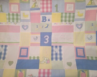 Girls Patchwork fabric Jane Churhill Embroidery Cotton pink Upholstery modern fabric 1.2 Yard
