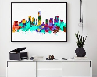 Indianapolis Skyline Art, Indianapolis Print, Indianapolis Painting, Indianapolis Poster, Watercolor Indianapolis, Indiana Painting  (N178)