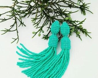 Beaded earrings tessel Mint green beaded tassel earrings Middle length tessel Oscar Bright summer earrings Trendy jewelry