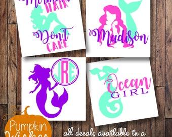 Mermaid Monogram/Mermaid Decal/Mermaid Hair Dont Care/Mermaid Yeti/Summer Decal/Ocean Girl/Monogram Decal/Personalized Decal/Mermaid Car