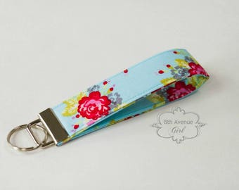 Key fob, keychain, wristlet keychain, key strap, fabric key fob, light blue fabric with roses***Ready-to-ship***