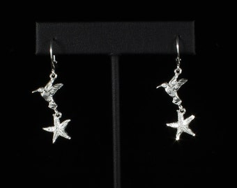 Starfish with Humming Bird Hanging Earrings in .925 Sterling Silver