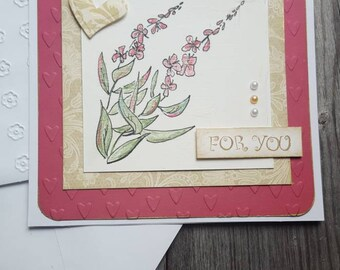 Fireweed flower greeting card handcrafted mixed media art