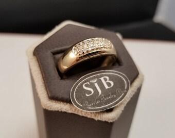 Diamond Band, 14k Diamond Band, Pave set Diamonds, 14k Gold Diamond Bands, Stackable Diamond Rings, April Birthstone Jewelry, #C380, Sz10.5