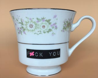 F*ck You | Ready To Buy Swear Teacup and Saucer | Funny Rude Insult Obscenity Profanity | Unique Gift Idea