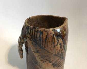 Ceramic Pitcher with Feather Motif