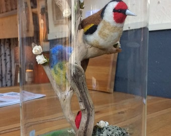 Needle Felted Goldfinch & Blue Tit in glass dome