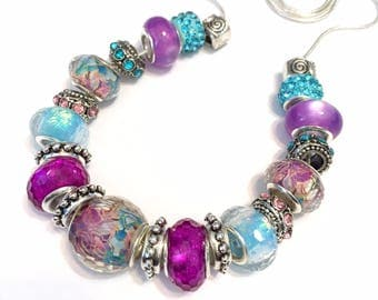 Pandora style Bead set 21 pieces large hole fits pandora biaggi orchid bracelet necklace or just the beads