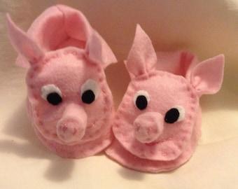 This little piggy baby booties. handmade baby booties