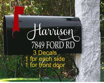 Mailbox Decal with Name-Personalized Mailbox-Name Mailbox Decals-Street Address Decal-Mailbox Decals-Mailbox Vinyl Decals-Mailbox Vinyls