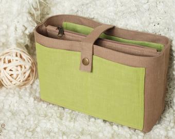 Purse organizer with zipper pocket, Hand Bag organizer, Insert Bag, Bag in Bag, Travel Organizer, Organiser Diaper Bag Organizer beige olive