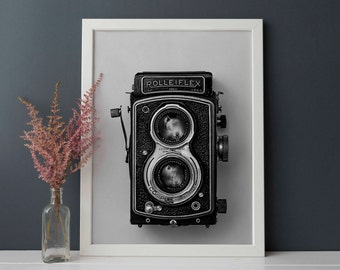 Rolleiflex print, vintage camera poster, black and white camera, old camera wall print, vintage digital download, Rolleiflex photographyy