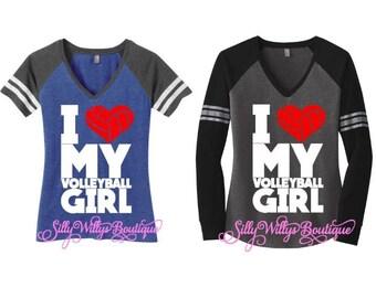 I Love my volleyball girl shirt, Volleyball mom shirt, Volleyball mom top, Volleyball Heart, Volleyball heart shirt, Volleyball shirt