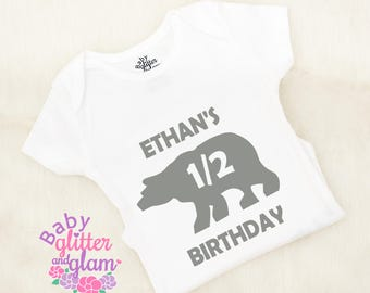 Half Birthday Boy Bear Shirt, Half Birthday Boy Outfit, Half Birthday Boy Trendy, Boy 6 Month Birthday, Half Way to One Boy